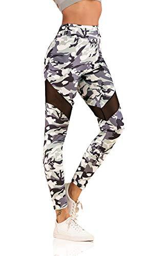 Elfurie Leggings de cintura alta de camuflaje blanco para mujer, longitud 7/8, sin costuras, patrón de entrenamiento, pantalones de yoga - - Small