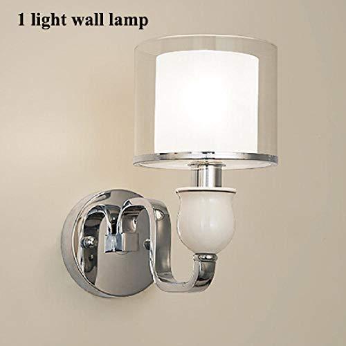 Moderne metalen led-wandlamp glas lampenkap slaapkamer woonkamer @ 1 lichtwand lamp wit gloeilampen