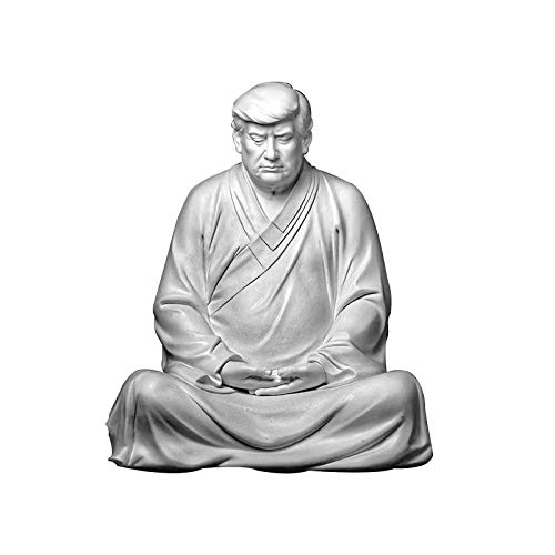 Resin Buddha Statue of Former US President Trump Donald, Xitian Listening Buddha Statue, Funny Buddha Suitable for Cars, Office Desk and Home Accessories