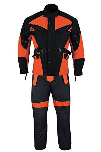 German Wear 2-teiler Motorradkombi Cordura Textilien Motorradjacke + Motorradhose, 50/M, Orange
