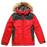 Wantdo Boy's Camping Outwear Hooded Ski Jacket Winter Coat Grey+Red, 10/12