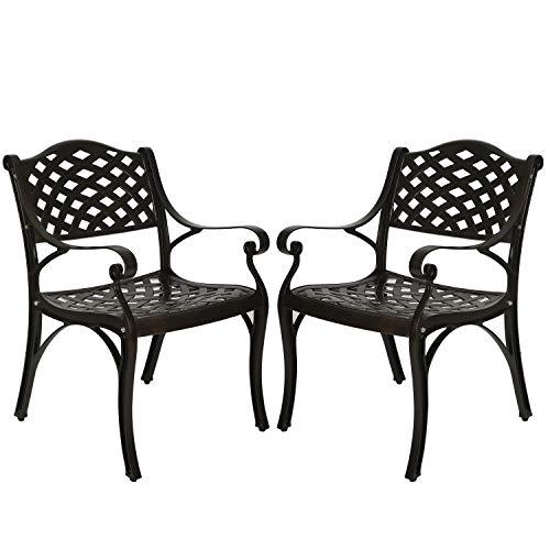 ARTETHYS 2 Piece Cast Aluminum Iron Chair Outdoor Bistro Dining Chair Set Aluminum Dining Chairs for Patio Yard Garden Furniture Antique Bronze (1)
