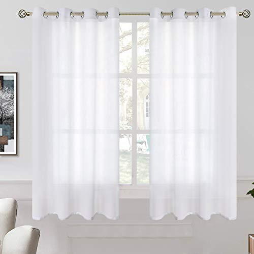 BGment Linen Look Semi Sheer Curtains for Bedroom, Grommet Light Filtering Casual Textured Privacy Curtains for Living Room, 2 Panels (Each 52 x 63 Inch, White)