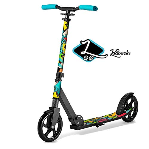 Lascoota Scooters for Kids 8 Years and up - Quick-Release Folding System - Dual Suspension System + Scooter Shoulder Strap 7.9