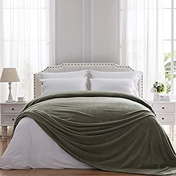 Hboemde Fleece Blanket Twin Size Olive Green Soft Flanne Bed Blankets as Bedspread Coverlet for Bed Coush Sofa - Lightweight Cozy Microfiber  60x80