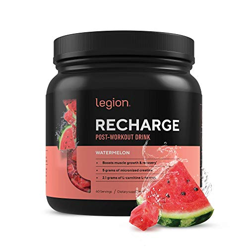 Legion Recharge Post Workout Supplement - All Natural Muscle Builder & Recovery Drink with Micronized Creatine Monohydrate. Naturally Sweetened & Flavored, Safe & Healthy. Watermelon, 60 Serv