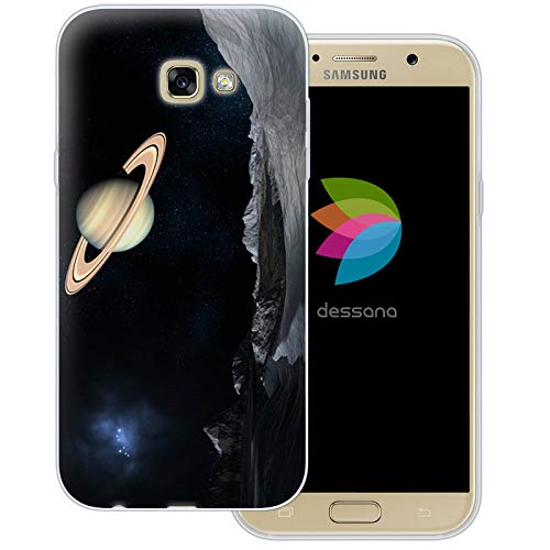dessana Universum transparente Schutzhülle Handy Case Cover Tasche für Samsung Galaxy A7 (2017) Weltraum Saturn