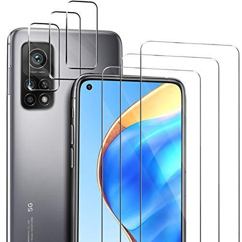 ivencase Compatible con Xiaomi Mi 10T 5G/10T Pro 5G Protector de Pantalla, 3 Pack Cristal Templado y 3 Pack Protector de Lente de cámara