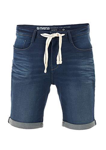 riverso Herren Jeans Shorts RIVPaul Kurze Hose Sommer Bermuda Stretch Denim Short Sweathose Baumwolle Grau Blau Dunkelblau w30 - w42, Größe:W 42, Farbe:Dark Blue Denim (D147)