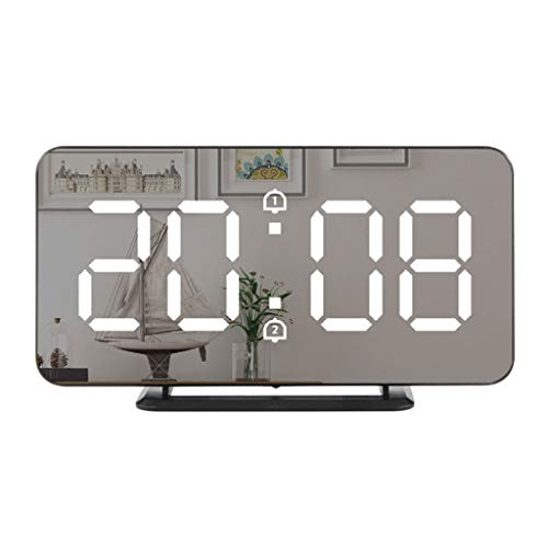 WQTT Alarm Clock LED-scherm digitale Snooze Night Light Batterij klok met datum Calendar Temperatuur for Bedroom thuiskantoor Travel