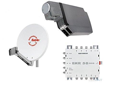 HD Sat Anlage von Kathrein für 8 Anschlüsse mit Kathrein CAS 80 (75cm) in weiß + Quattro LNB & EXR 58/ECO - Für HDTV 1080p, 3D, Ultra HD 4K