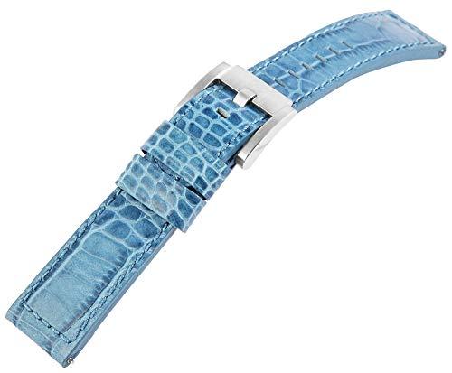 TW Steel Echt Leder Armband, 22 mm, blau, Silber, Schließe