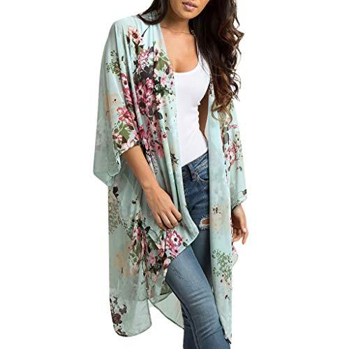 Bigoing Dames Kimono Cardigan, Dames Retro Boho Chiffon Bloemen Print Losse Sjaal Cardigans Tops Cover up Blouse Strandkleding Groen