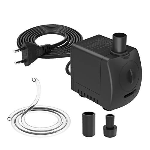 Knifel 550L/H Wasserpumpe mit Trockenbrandschutz und Ultra-leises Design mit 0,5 m Schlauchleitung Tauchpumpe, Aquariumpumpe für Teichbrunnenaquarium, mit Förderhöhe 1,2m und 1,5m Kabel.(9.4W)