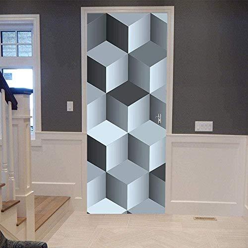 Pegatinas de puerta 3D Papel tapiz de puerta de cubo de Rubik Cartel de puerta autoadhesivo DIY Mural autoadhesivo Papel pintado impermeable de PVC -95X215CM