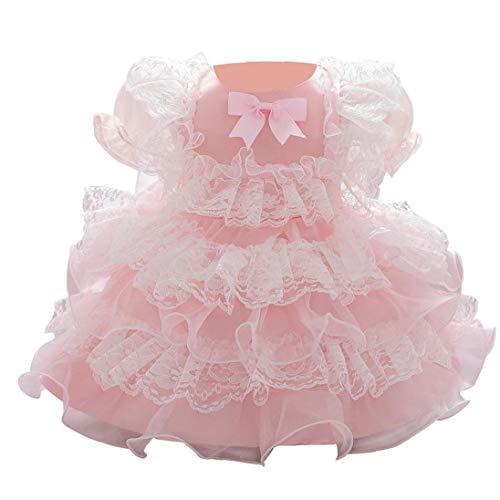 Uayasily 90cm del Vestido del Bebé del Acoplamiento del Cordón De La Princesa del De La Fiesta De Cumpleaños Boda De La Falda Traje Rosa