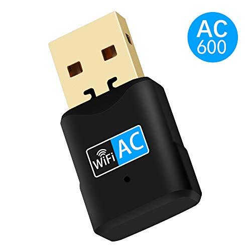 NETVIP WiFi Adaptador 600mbps Driver Free Receptor Banda Dual 2.4G/5G Mini WiFi Adaptador de dongle de Alta Ganancia para PC portátil de Escritorio Soporte de Windows/Vista/7/8/10/Mac OS