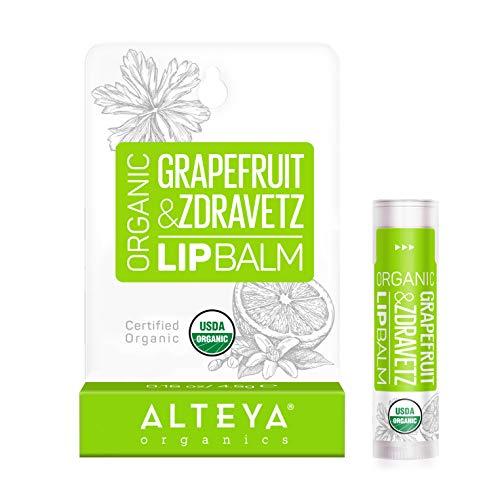 Alteya Organic Baume à lèvres à l´huile de Pamplemousse et Zdravetz 5g - Certifiée Bio USDA Baume à lèvres Basé d'huiles essentielles hydratantes et de beurres végétales nourrissants