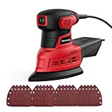 Orbital Sander, Meterk 200W delta sander 12500rpm with Dust Collection System, Dust Bin and 20 Sanding Sheets, For Sanding, Polishing and Waxing