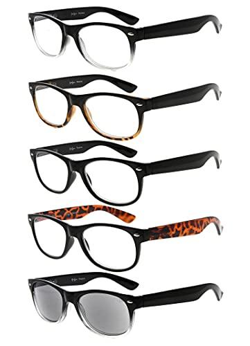 5-pack Primavera Cerniere anni 80 occhiali da lettura Includono Sun Lettori +3.50