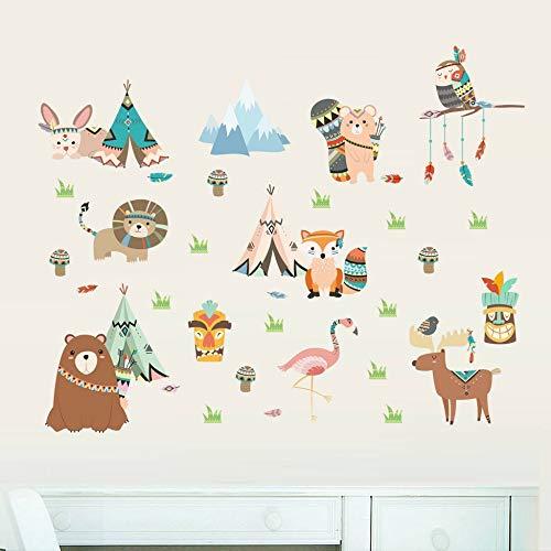 Tribal Dieren Wild Tent Camping Cartoon Muurstickers Beer Fox Flamingo Uil Kinderkamer Slaapkamer Decoratie Verwijderbare Decals