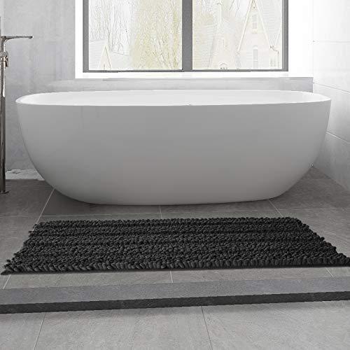 Large Non Slip Super Soft Shaggy Chenille Bathroom Rugs Runner Absorbent Mat for Kitchen Bathtub Double Basin Vanity Floors(17'x47',Black)
