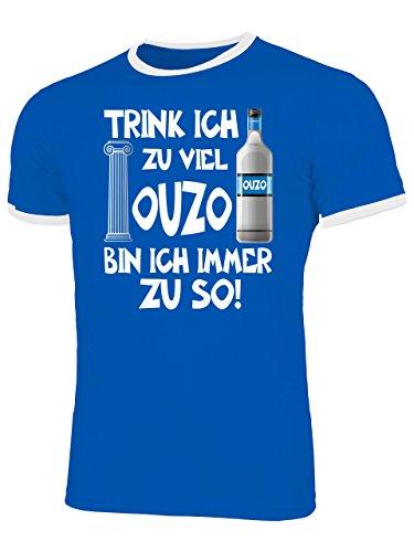 Trink ich zu viel Ouzo Bin ich Immer zu so Sauf Griechenland Geschenke Lustig Sprüche Geburtstag Geschenke Herren Männer Ringer Tee t Shirt Tshirt t-Shirt Grieche-n Griechisch Geschenkidee Party