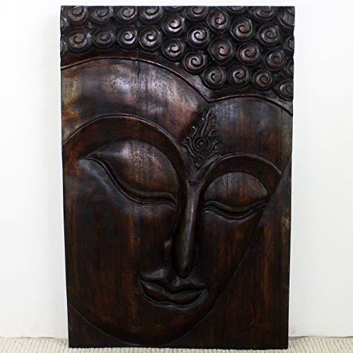Haussmann Wood Buddha Panel Ushnisha 24 in x 36 H Mocha Oil