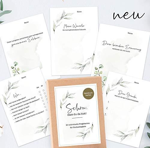 40 Gästebuch-Karten für die Hochzeit mit Box - DIN A6 / Schön, dass du da...
