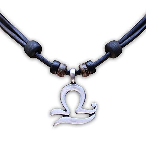 HANA LIMA 1 von 12 Sternzeichen Tierkreiszeichen an Verstellbarer Halskette Horoskop Horoscope Lederkette Surferkette G - Waage (Libra) / 24. September - 23. Oktober