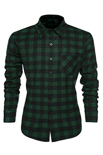Coofandy Camisa Hombre Manga Larga Shirt for Men Invierno Modelo Verde L