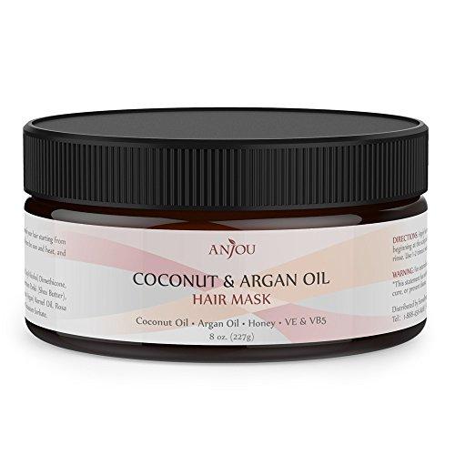 Anjou Coconut Oil Hair Mask 8 oz, After Shampoo Hair Treatment for All Hair Type, Deep Argan Oil Conditioner for Dry Damaged Hair Color & Curly Treated Hair and Hair Loss