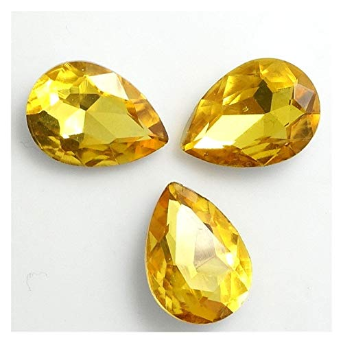 ZHAO Faceted Crystal Glass Rhinestones Teardrop Loose Beads Jewelry 7x10/10x14/13x18/18x25/20x30mm (Color : Golden, Size : 7x10mm 20pcs)