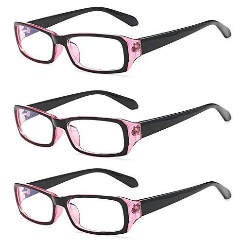 Rongchy Fernbrille für Kurzsichtige, für Herren und Damen, klassischer Stil, Stärke von -0,5 bis -4,0, 3 Paar