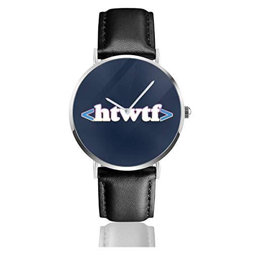 Htwtf HTML Code Watches Reloj de Cuero de Cuarzo con Correa de Cuero Negra para Regalo de colección