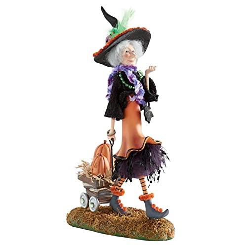 Baohao Figuras de bruja de Halloween, decoración impermeable de bruja hechizante muñeca coleccionable, mini muñecas de bruja pintadas a mano, para decoración de otoño y Halloween