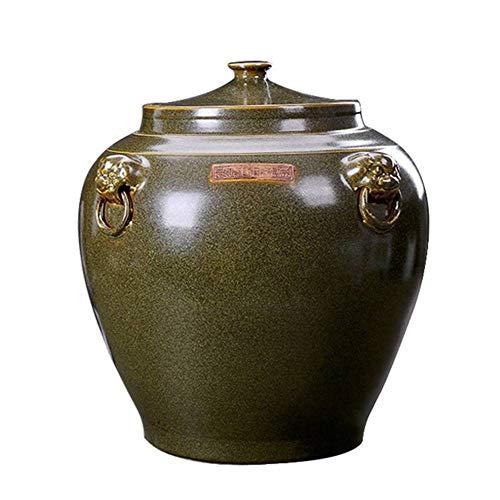 Tarro de almacenamiento para alimentos, cristal vitrificado, barril de arroz, con tapa, vaso de vino, vaso de aceite, vaso de té, 7,5 – 50 kg de capacidad