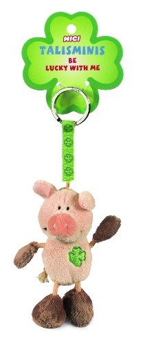 NICI 33688 - Schwein Beanbag Schlüsselanhänger Talismin 7 cm, rosa-braun