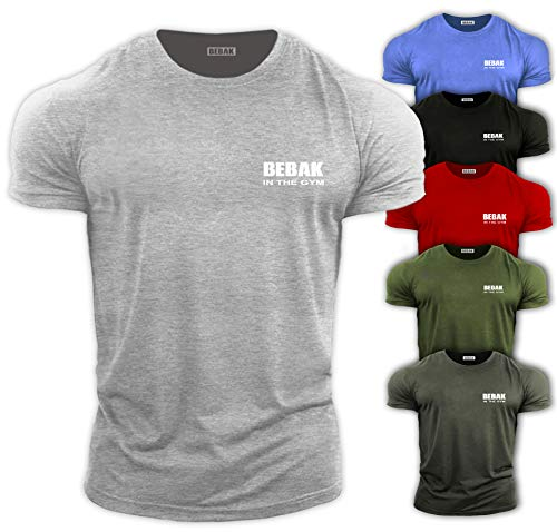 Gym Clothing for Men Gym T Shirt Bodybuilding T Shirts Gym Kleidung - BEBAK Workout Top Training Tops Arnold Schwarzenegger inspiriertes Design T-Shirt MMA XL Grau - Sport Grey