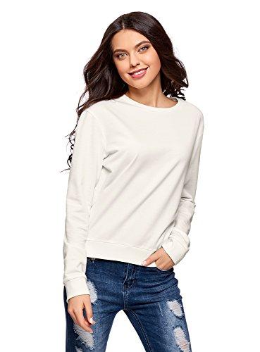 oodji Ultra Damen Baumwoll-Sweatshirt Basic, Weiß, DE 34 / EU 36 / XS