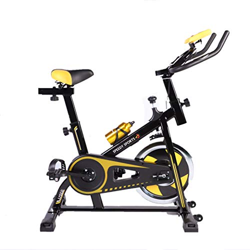 Buyer Empire Exercise Bike Indoor Cycling Stationary Bike 10KG Flywheel Ideal Workout Machine with LCD Display | Smartphone App | iPad Holder Home Gym Equipment Suitable For Everyone (Black Yellow)
