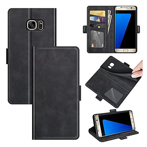 AKC Funda Compatible para Samsung Galaxy S7 Edge Carcasa Caja Case con Flip Folio Funda Cuero Premium Cover Libro Cartera Magnético Caso Tarjetero y Suporte-Negro