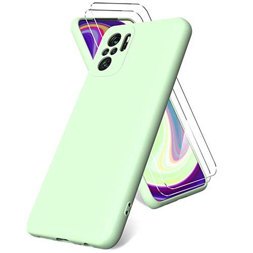 Vansdon Funda Compatible con Xiaomi Redmi Note 10 4G/ Note 10S, 2 Unidades Protector Pantalla Cristal Templado, Silicona Líquida Gel Ultra Suave Funda- Verde Noche