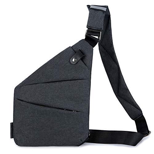 Yiyu Multi-Pocket Crossbody, Brusttasche Herren,Anti-Diebstahl Brusttasche x (Color : Black)