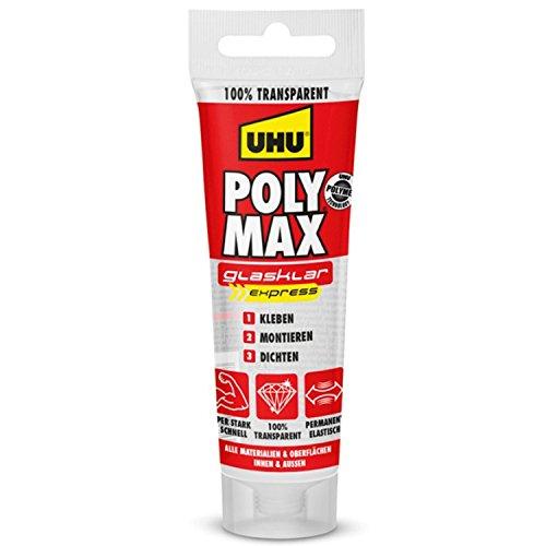 UHU Poly Max Glasklar Express Tube, Transparenter Montageklebstoff und Dichtmittel mit hoher Endfestigkeit, 75 g
