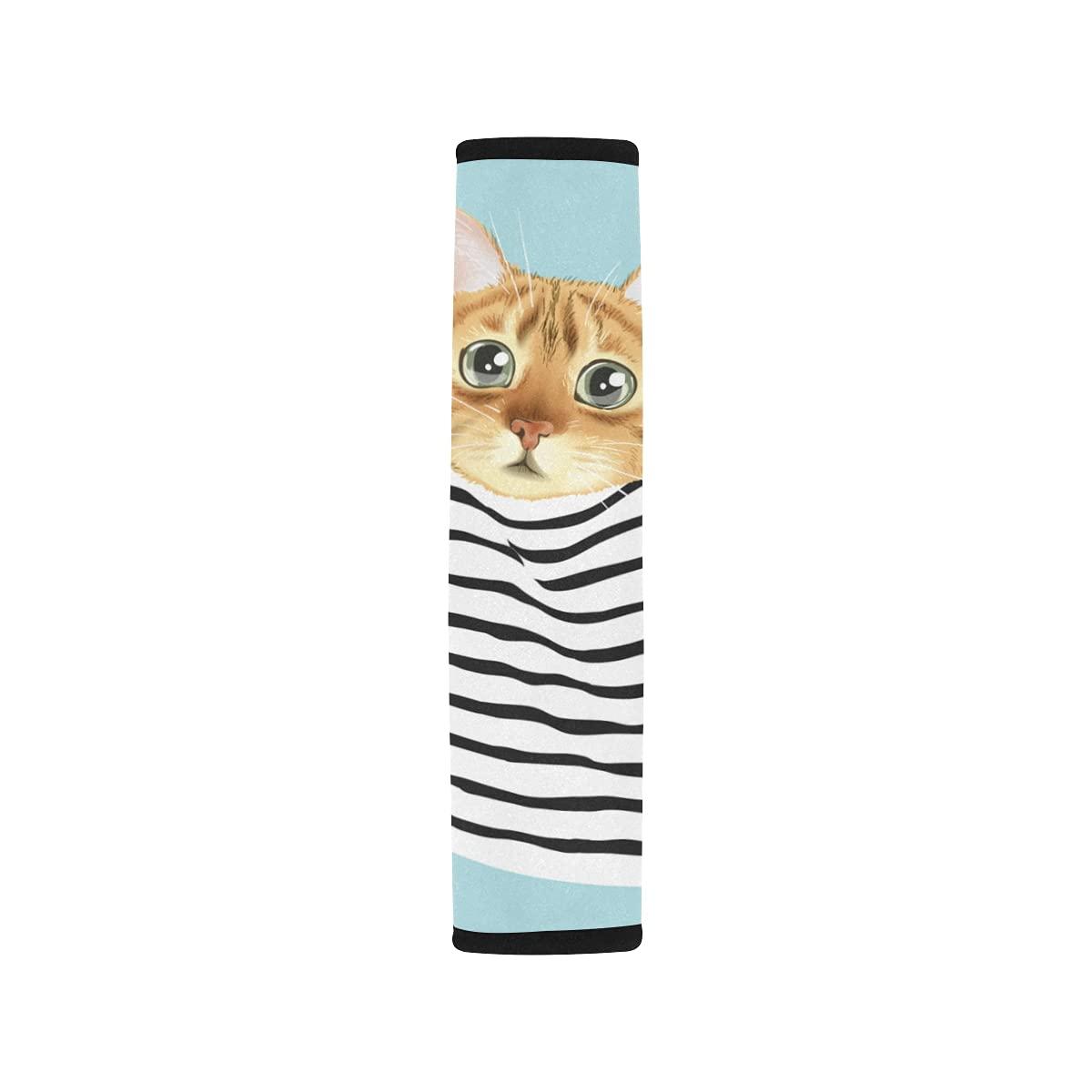 2pcs Car Seat Belt Direct stock 100% quality warranty! discount Cover Cute Cat Seatbel Stripe Shoulder Pocket