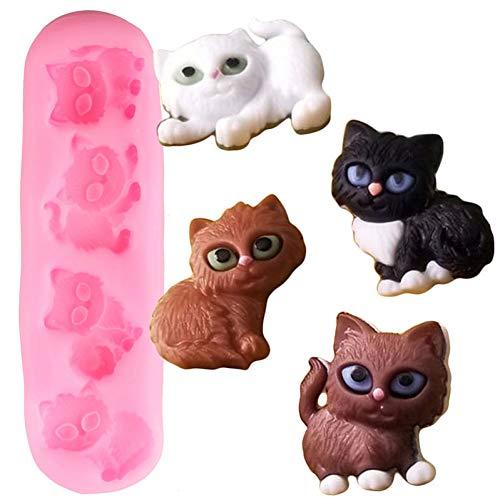 YTYASO 3D süße Katze Silikonformen Candy Clay Mould Geburtstag Cupcake Topper Fondant Kuchen Dekorationswerkzeuge Schokoladenformen
