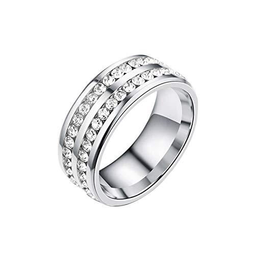 keleiesXD Anillo magnético Anillo de Diamante de Doble Fila de Diamante de Enfoque reducido de Acero Titanio Pleasant
