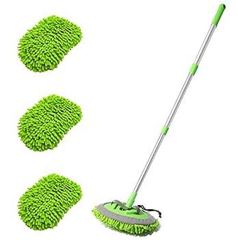 "HOUSE DAY Car Wash Brush with 45"" Long Handle & 3pcs Car Wash Mitt Scratch Free Soft Scrub Car Wash Brush Car Wash Mops with Flexible Rotatory Extension Pole - Green"