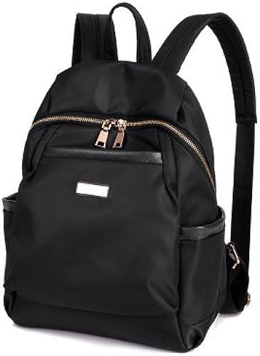 Oxford Tuch Schulter Rucksack Korea edition Tasche einfach Mode Double Shoulder Bag lady Nylon doppelt Umh etaschen, Schwarz